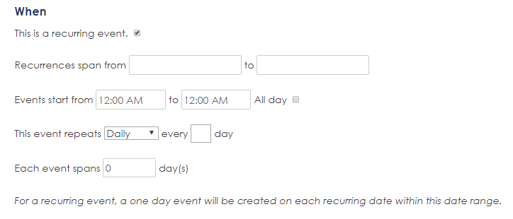 Recurring events listing on HD8 Network online events calendar