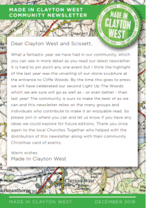Made in Clayton West Newsletter Cover image