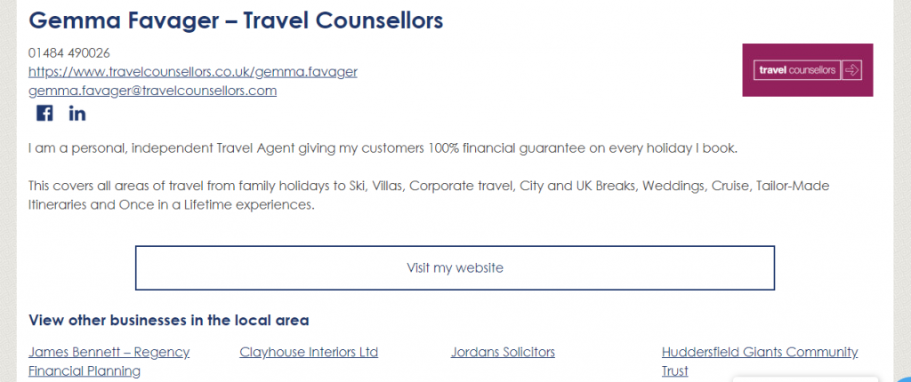 HD8 Network Business directory listing - basic entry - Gemma Favager - Travel Counsellors