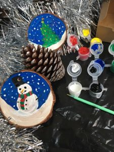 Su Melville Art Christmas Tree Decorations - Snowman and Christmas Tree