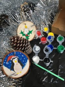 Su Melville Art Christmas Tree Decorations - Penguin and Candle
