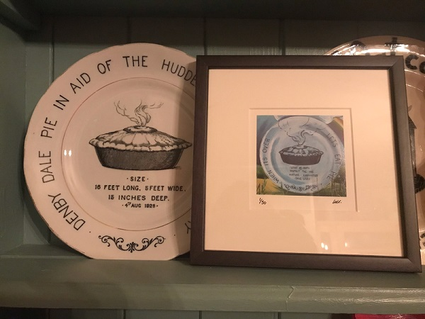 Denby Dale Pie Plate next to framed image